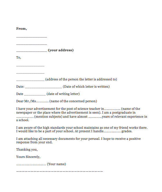 How To Write Application Letter For Teaching Job In School