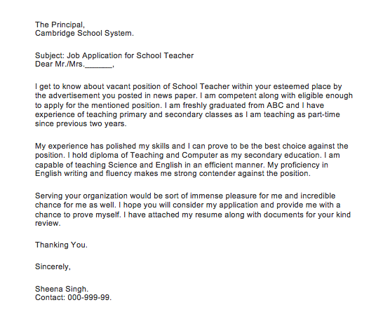 how to write an application letter for a teaching job in a secondary school in nigeria