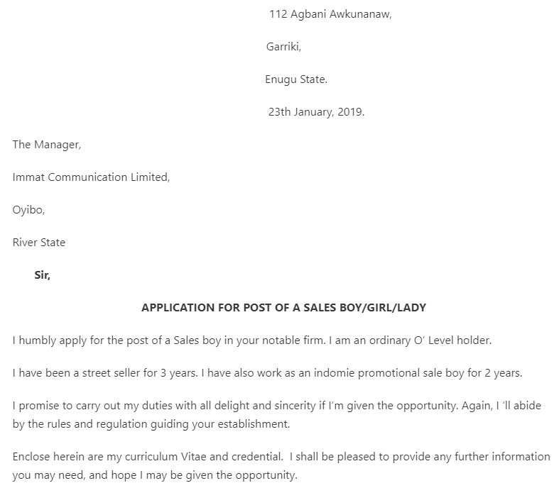how to write an application letter for the post of a sales girl in a supermarket