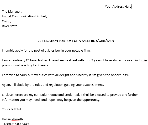 application letter for the post of sales girl in a fast food company