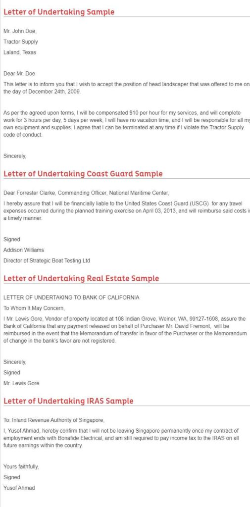 How To Write Letter Of Undertaking Of Good Conduct